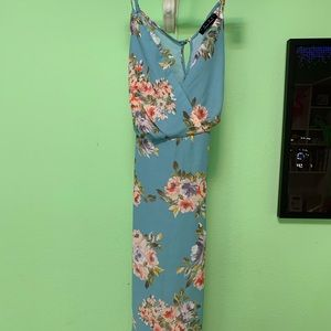 Blue Fake Wrap Dress with Flower Pattern